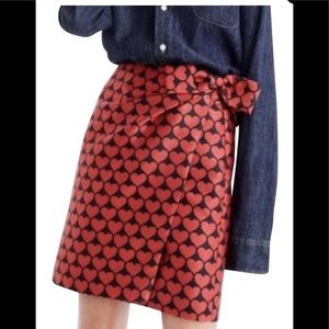 🆕 NWT J.CREW Heart Print Bow Skirt